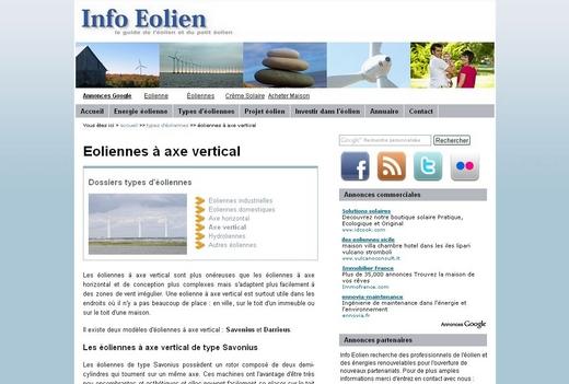 Le site Info éolien, référence pour les particuliers.