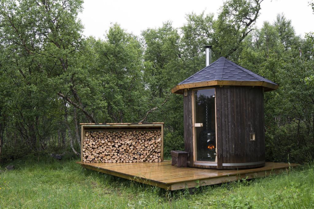 Cabane sauna en Norvège.